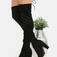 Chunky Heel Suede Thigh Boots BLACK -SheIn(Sheinside)