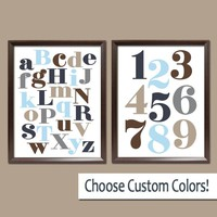 Alphabet Numbers Wall Art, ABC 123 Pictures, Canvas or Prints, Baby Boy Nursery Decor, Navy Blue Brown Tan, Choose Colors Set of 2 Decor