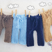 Knit Newborn Pants / Baby boy pants / Newborn Photo props / Knitted Baby pants / Twins