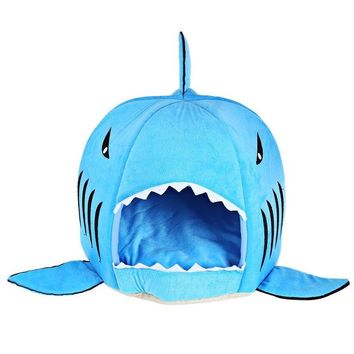 ONETOW Novelty Soft Dog Cat Bed Cartoon Shark Mouse Shape Washable Doghouse Pet Sleeping Bed Bule/Grey Color With Removable Cushion