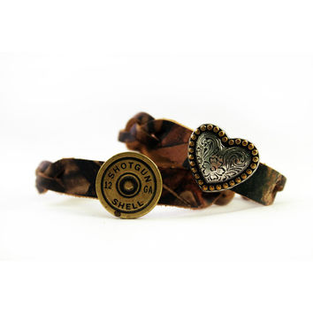 Camo Shotgun Shell & Heart Bracelet Pair