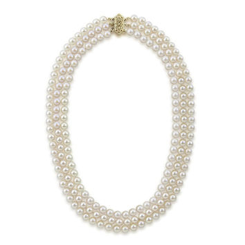 """14k Yellow Gold Triple Strand White Saltwater Akoya Cultured Pearl Necklace AAA Quality (6-6.5mm), 20"""""""