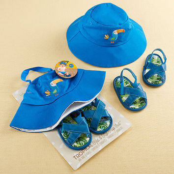 Tropical Beach Hat and Flip Flop Gift Set