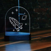 Bedside Night Lamp Interior Light - Space Shuttle 3d Led Lamp - Stars Wood Acrylic Glass Gift's Idea