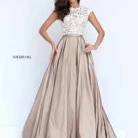 Sherri Hill 50843 Lace Crop Top Formal Prom Dress