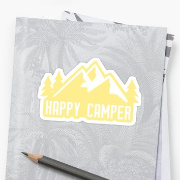 'Happy Camper (yellow mountains)' Sticker by its-anna