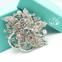 Wedding brooch Rhinestone Crystal bunch of Flowers style brooch adornment, Sash applique, Buckle, Hair comb, Clutch Bridal Jewelry
