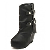 Black Belt buckle high-heeled snow boots  Solid Pop  style 0701001 in