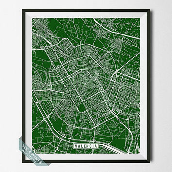 Valencia Print, Spain Poster, Valencia Poster, Valencia Map, Spain Print, Street Map, Spain Map, Wall Decor, Wall Art