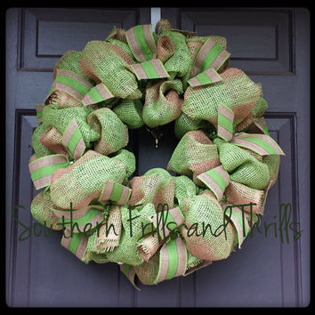 Burlap Wreath, Summer Burlap Wreath, Summer Wreath, Rustic Wreath, Wreath, Summer Decor, Door Hanger, Burlap, Rustic Decor