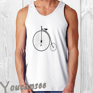 Vintage Graphic Bycle- men tank top ---print screen tank top for men, Awesome tank top for Man,Size S --- 3XL