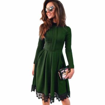 Hot 2019 Summer New Fashion Women Casual Long Sleeve Dress Green Party O-Neck Lace Dresses Plus Size S-4XL Size