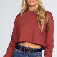Sporty Spice Crop Sweatshirt - Burgundy
