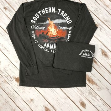 Southern Trend Bonfire Long Sleeve Tee {Pepper}
