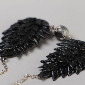 Handmade beautiful designer polymer clay necklace on metal chain black wings