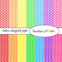 Rainbow Honeycomb Digital Paper Pack – bright patterns for scrapbooking, invitations, or digital backgrounds – instant download – CU OK