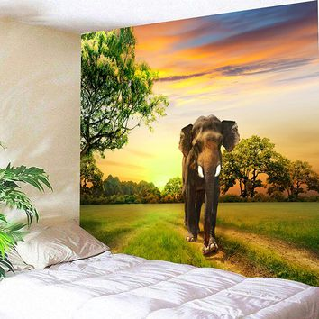 Sunrise Walking Elephant Grass 3D Wall Hanging Blanket