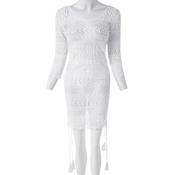 Sexy Scoop Collar 3/4 Sleeve Hollow Out Fringe Design Women's Dress