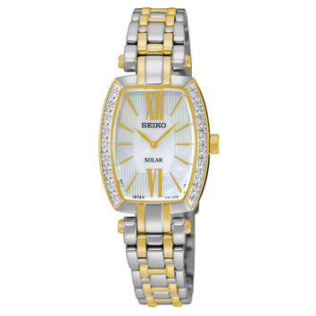 Seiko SUP284 Women's Watch Diamond Accented Bezel Tonneau Two-Tone Stainless Steel Solar