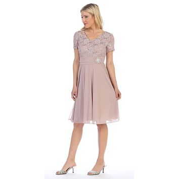 CLEARANCE - Knee Length Mocha Dress With Short Sleeves Lace Bodice (Size Large)