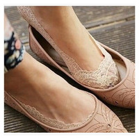 Transparent Korean Lace Silicone Socks [9259042244]