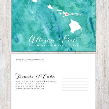 Any Place - Save the Date Watercolour Wedding Postcard