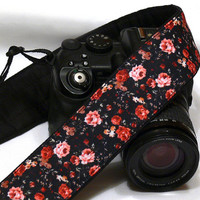 Small Flowers Camera Strap. DSLR SLR Camera Strap. Canon Nikon Camera Strap. Camera Accessories