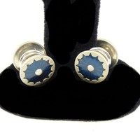 Signed KUM-A-PART Blue Art Deco Cuff Links - Dark Blue Enamel and Inset Seed Pearl - Round Vintage CuffLinks - 1920's 1930's Jewelry for Men