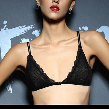 Women Sexy Mesh Lined Embroidery Lace Bra Brassiere Bralette Front Close Triangle BH Size 32 34 36 38 40 42 44 A B C D Cup