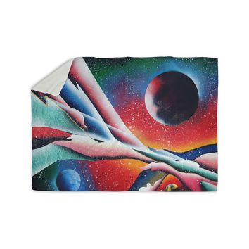 "Infinite Spray Art ""String Theory "" Red Blue Sherpa Blanket"