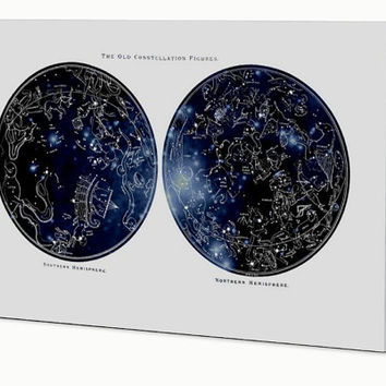 The Old Constellations, Northern Hemisphere, Southern Hemisphere, Ready to hang wall art, Astronomy Art, Constellation Map