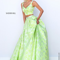 Sherri Hill 50200 Crop Top Brocade Ball Gown Prom Dress