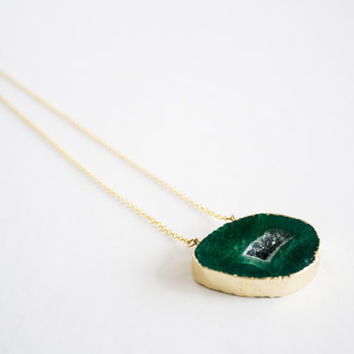 Emerald druzy necklace 24k gold plated - gemstone geode agate DR001