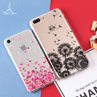 "Ultra Thin Transparent Soft Tpu Phone Cover For Iphone 7 Case 5.5 Inch""  Butterfly Dandelion Pink Heart Design Back Capa -0327"