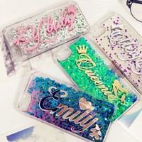 Exclusive Customize Name liquid glitter soft case for iphone 5 5s SE 6 6s 7 8 X plus for Samsung Galaxy s6 s7 s8 edge note 5 8