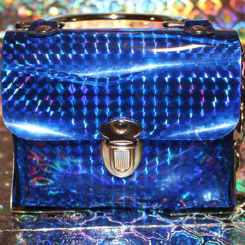 90s Holographic Bag Hologram Sea Punk Blue by NothingOnTV on Etsy