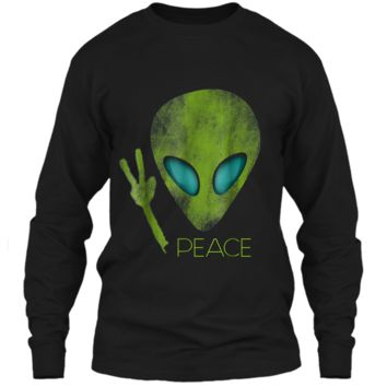 Alien Peace Cool Funny  Cute UFO Lover Birthday Gift LS Ultra Cotton Tshirt