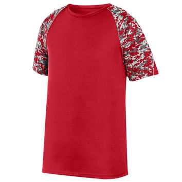 Augusta 1783 Color Block Digi Camo Jersey Youth - Red Red Digi