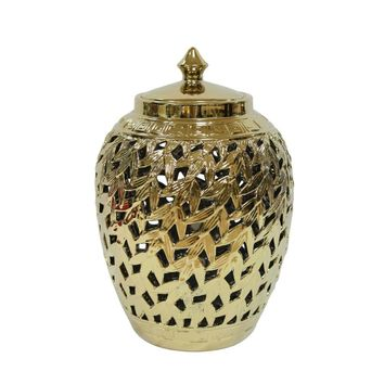 Beautifully Designed Pierced Ceramic Covered Jar, Gold By Sagebrook Home