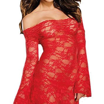 Red Stretch Lace Chemise w/Long Bell Sleeves (Small-Large)