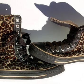 rare leopard converse vintage x high top faux fur leather lined