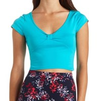 Cinched Bow-Front Short Sleeve Crop Top by Charlotte Russe