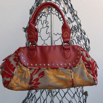 80s Carpet Bag Satchel / Vintage Red 80s Bag / 80s Retro Purse