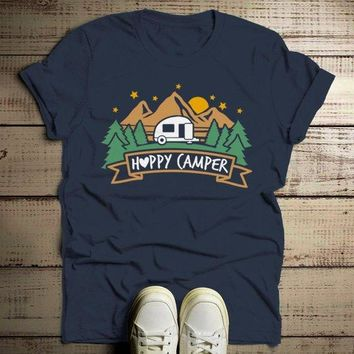 Men's Happy Camper T Shirt Mountains Shirt Forest Camping Graphic Tee