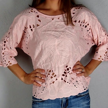 Vintage Blush Pink Cut Out Tropical Blouse, One size fits all!