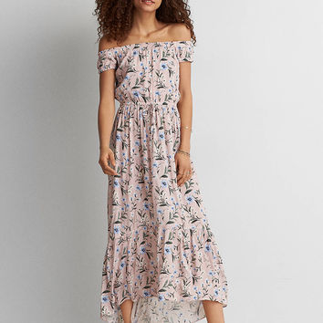 AEO Off-The-Shoulder Printed Maxi Dress, Blush