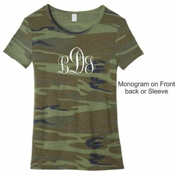 Wife Collection - Camo MONGRAM - front, back or sleeve - Alternative Eco-Jersey - Dawson Urban Design Apparel