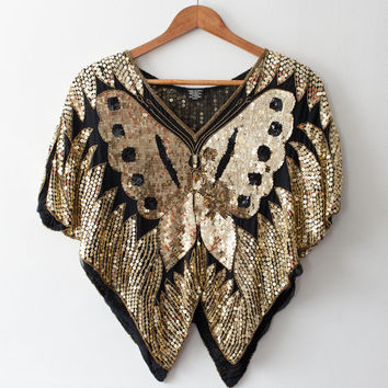 Vintage Butterfly Gold Sequined Top 1980s Glitz and Glamour Sequins Disco Style Retro Cool