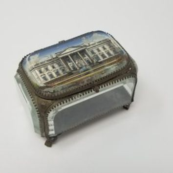 Antique Beveled Glass White House Souvenir Jewelry Casket