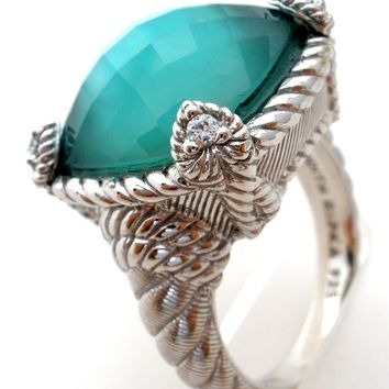 Judith Ripka Sterling Ring with Green Chalcedony Doublet